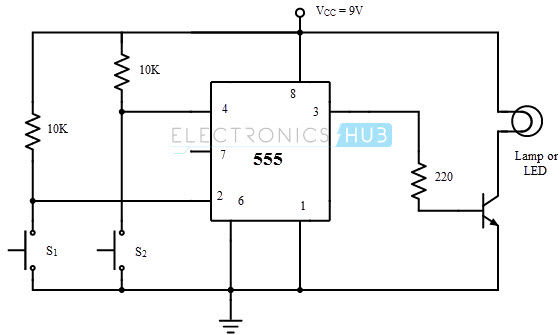 Memory Cell Circuit using 555