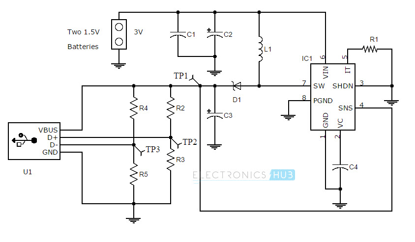 how to make portable battery charger portable mobile phone charger using boost converter circuit diagram