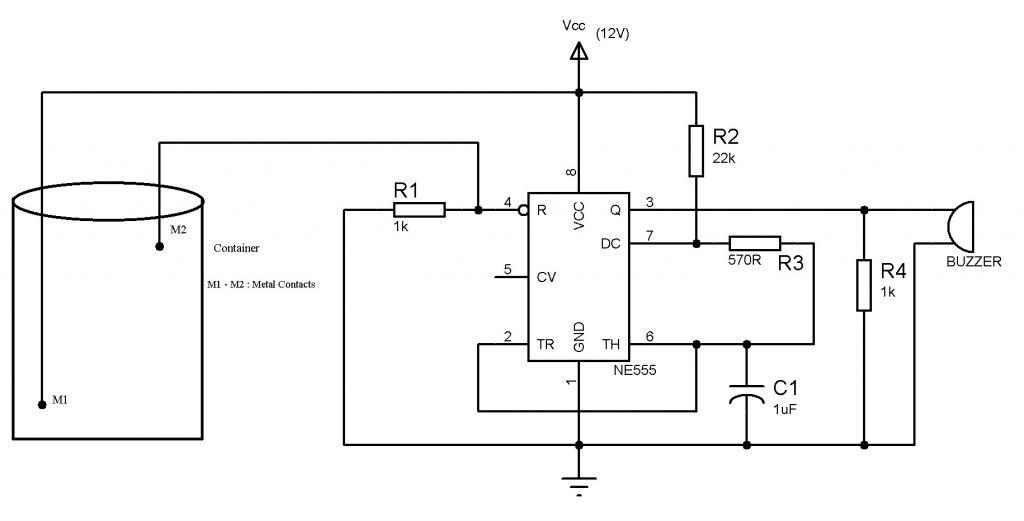 Water Level Indicator using NE555 Circuit