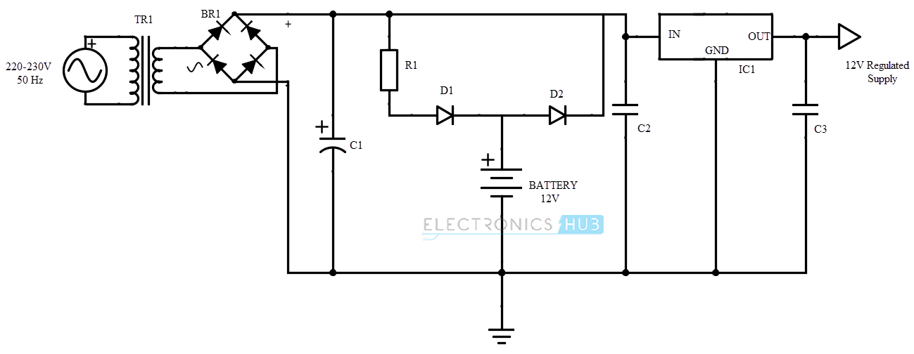 uninterruptible power supply ups basic circuit diagram