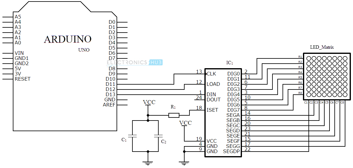 led matrix circuit diagram arduino led matrix