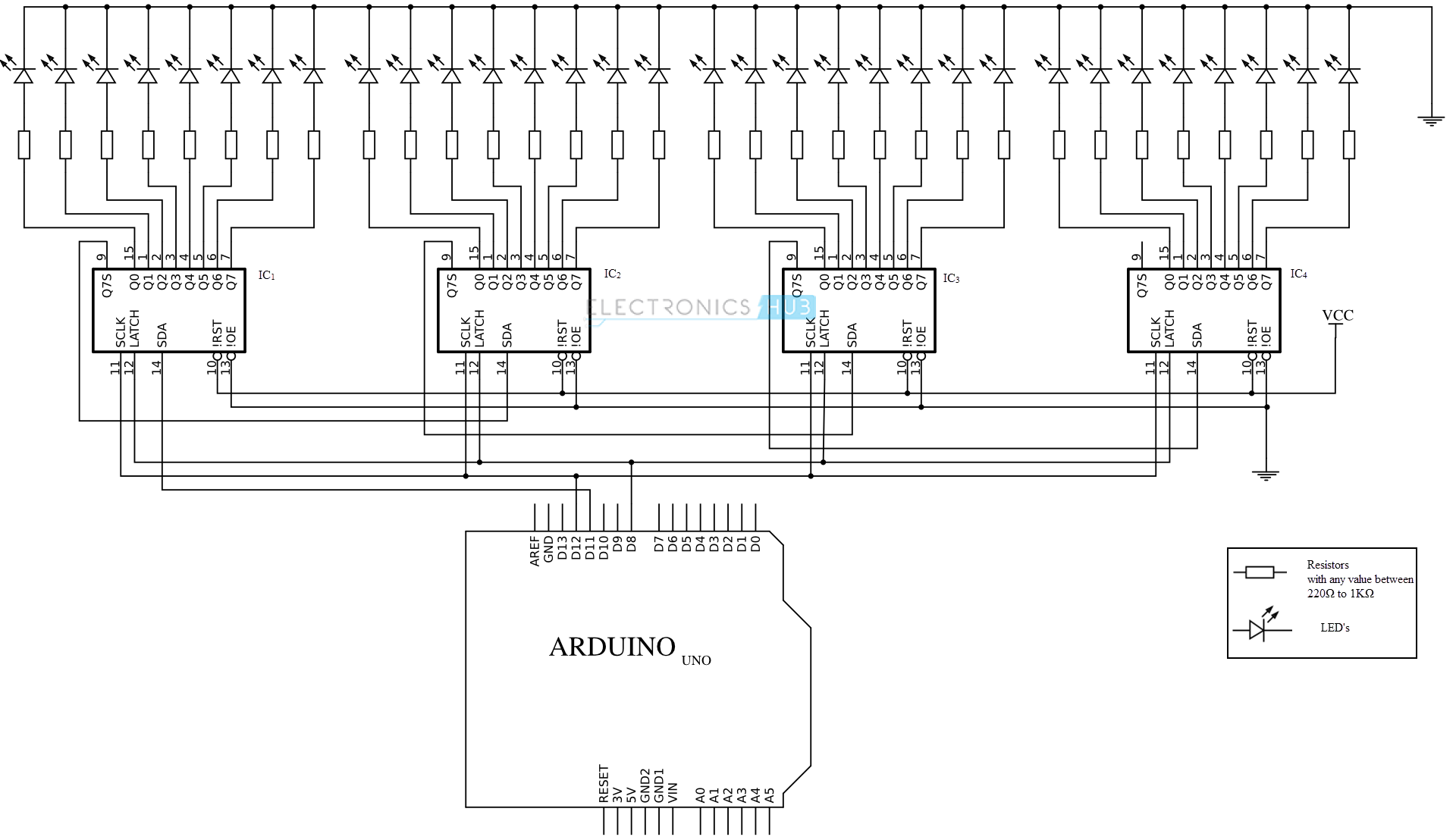 multiple shift registers on arduino