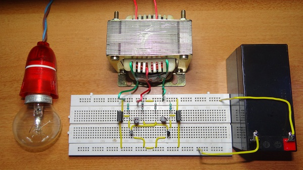 12V DC to 220V AC Converter [Tested Circuit]