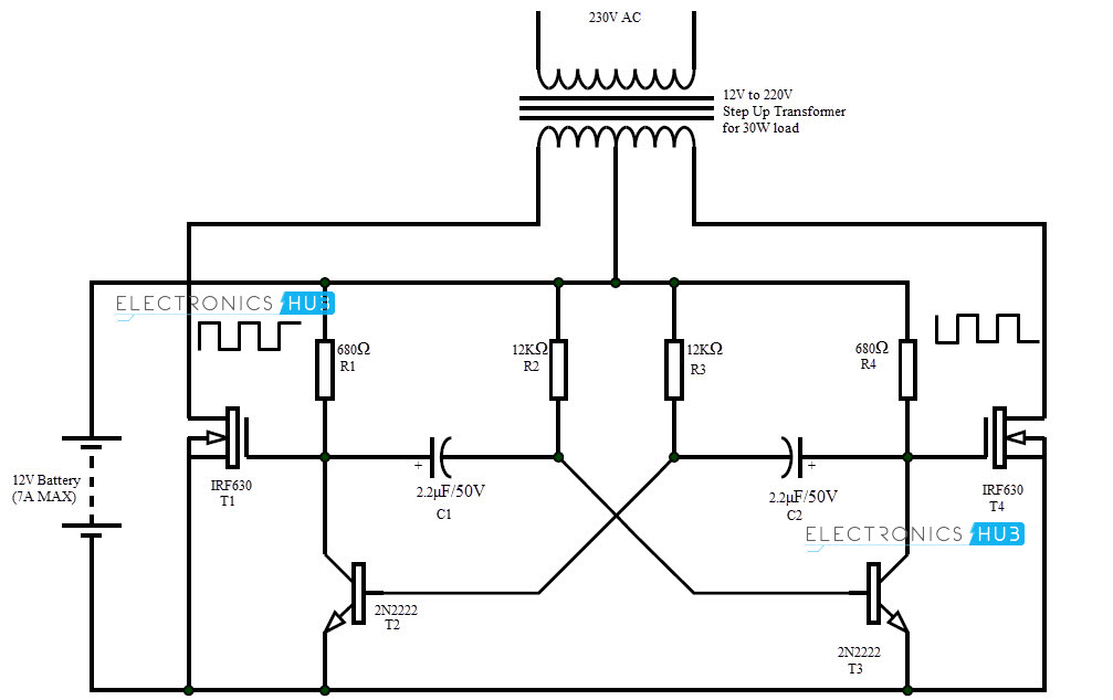12v dc to 220v ac converter circuit design  working and
