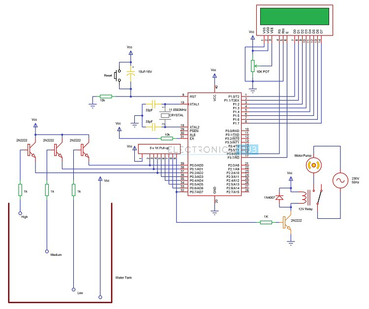 Water Level Controller using 8051 Microcontroller Circuit Diagram