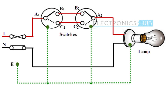 Single blub controlled by two way switches electrical wiring systems and methods of electrical wiring single way switch wiring diagram at nearapp.co