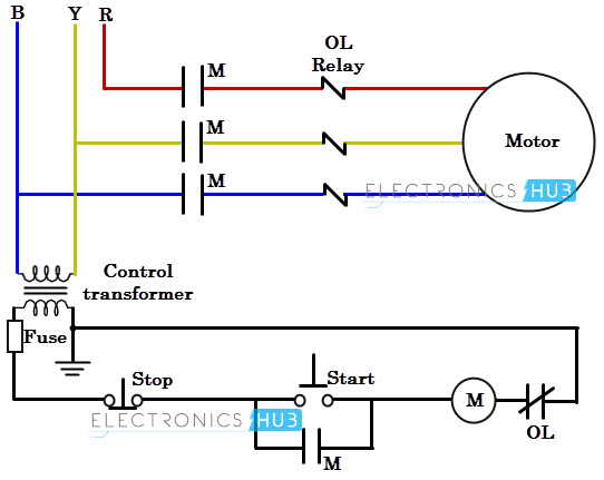Three phase wiring for 3 phase motor starter circuit