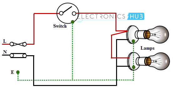 Two blubs are controlled by a one way switch electrical wiring systems and methods of electrical wiring single way switch wiring diagram at nearapp.co