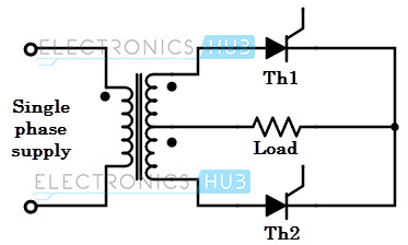 Single phase full wave mid-point rectifier