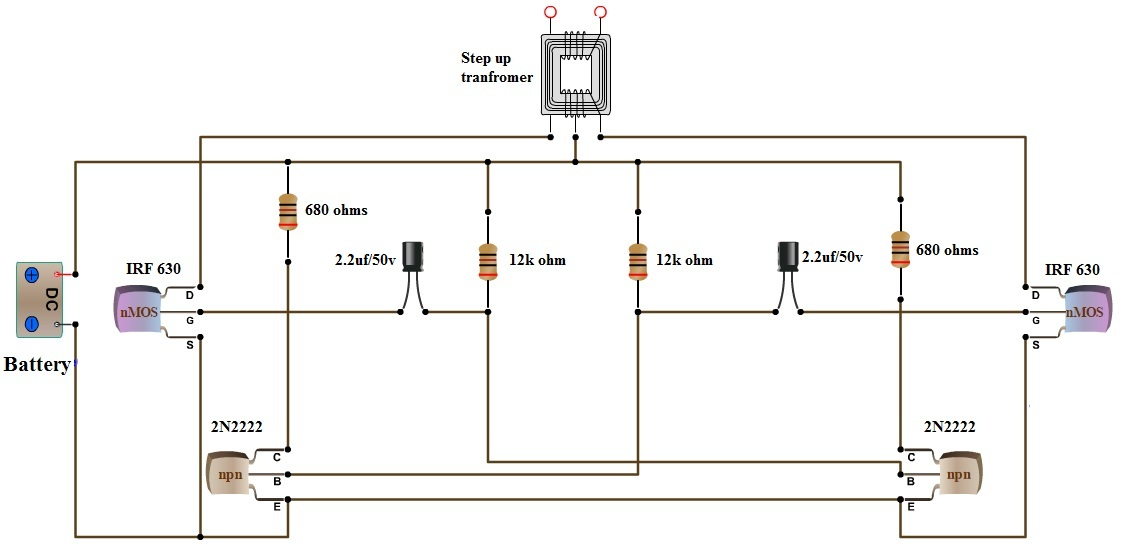 V DC To V AC ConverterInverter Circuit Design - Circuit diagram of an inverter