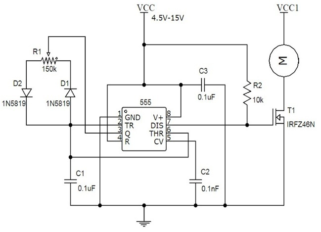 Speed controller using 555 for Universal motor speed control circuit