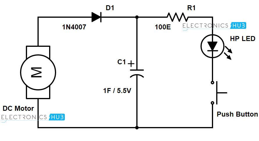 How To Design A Simple Hand Crank Generator - Circuit diagram dc generator