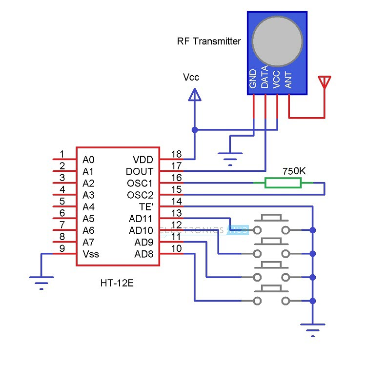RF based Home Automation Transmitter Circuit