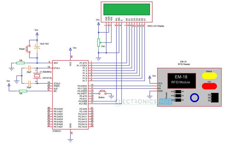 RFID based Attendance System 8051 Circuit Diagram