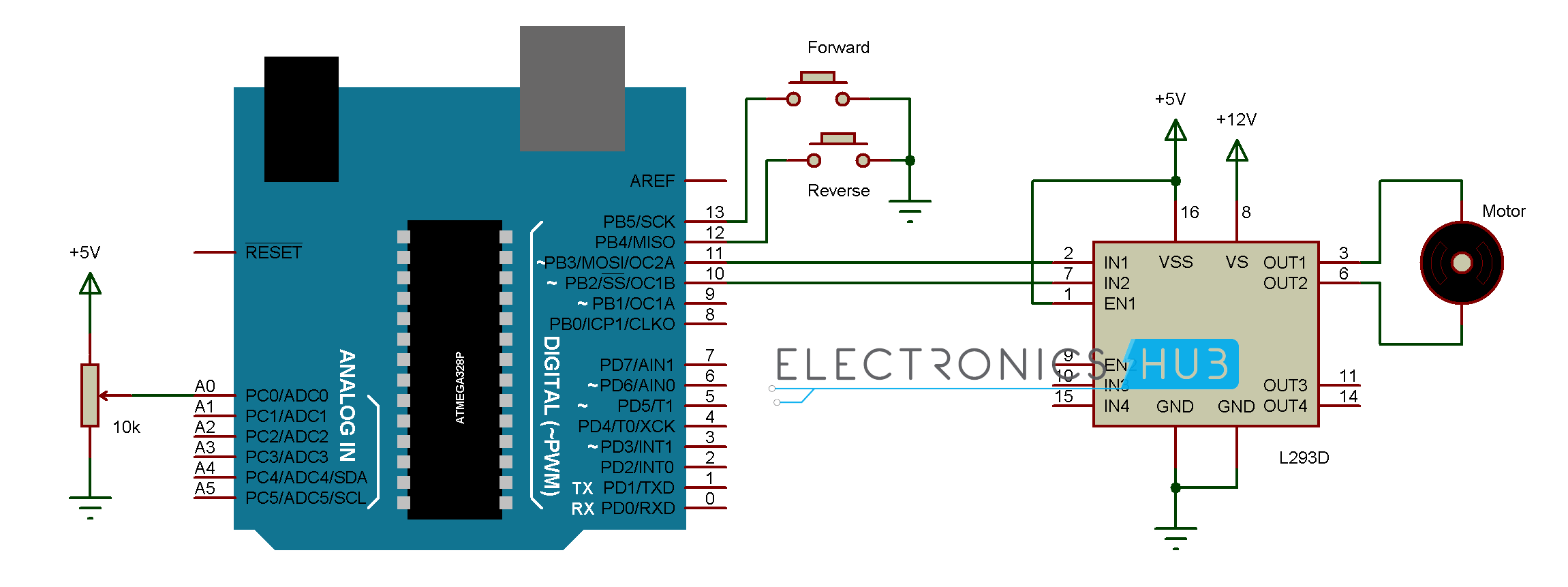 Control motor with arduino for Dc motor control circuit diagram
