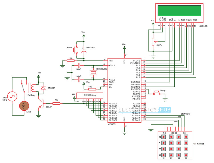 Programmable Switching Control using 8051 Circuit Diagram