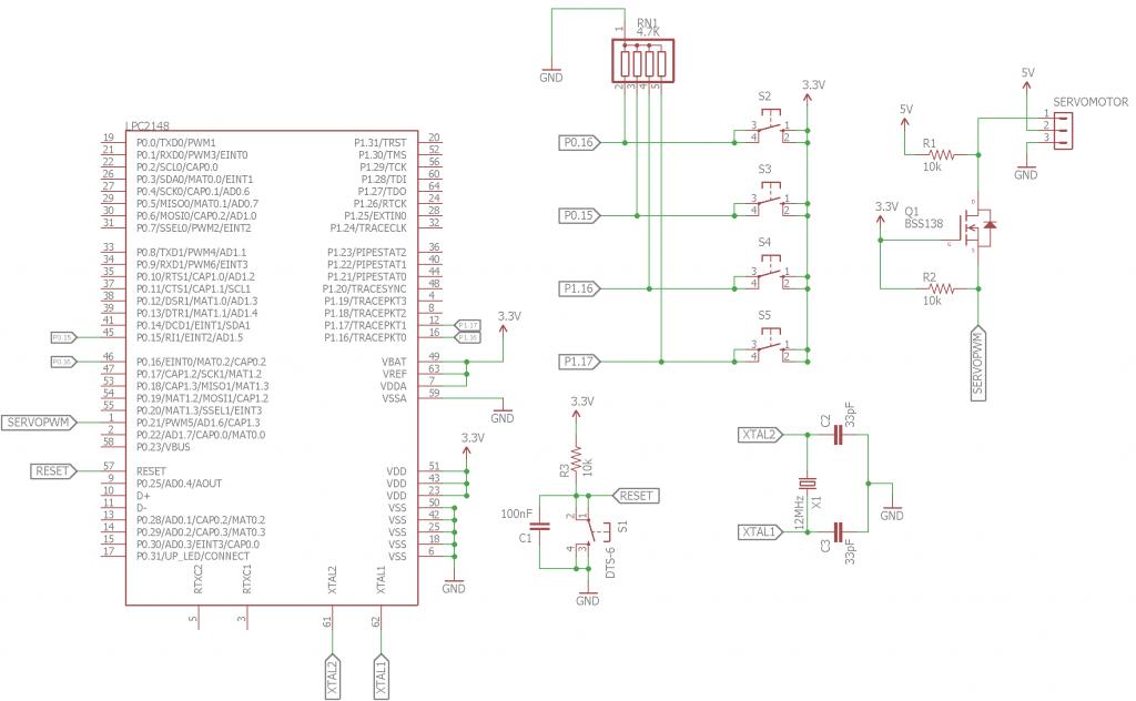 Servo Motor Control with LPC2148 Circuit