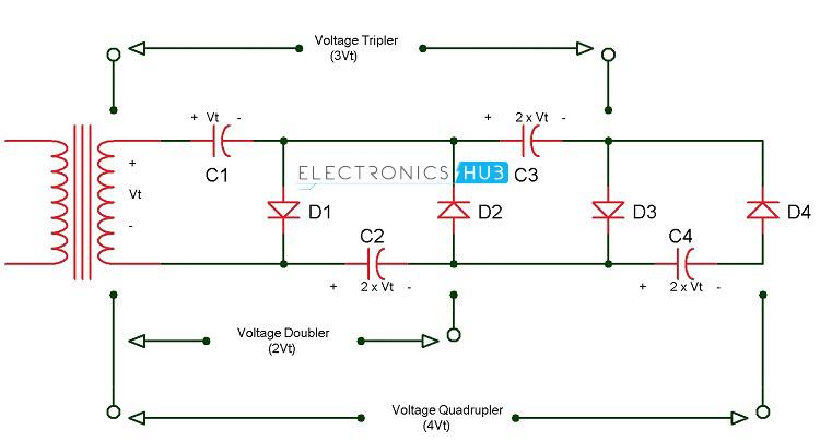 Voltage Quadrupler Circuit