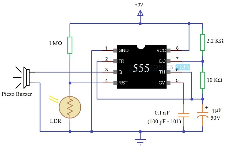 Darkness Detector using LDR Circuit Diagram