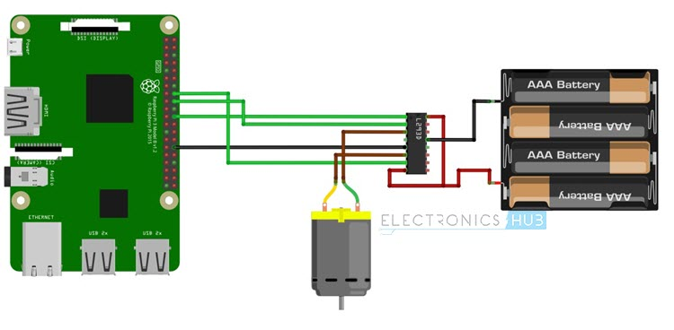 Controlling a DC Motor with Raspberry Pi Fritzing Diagram