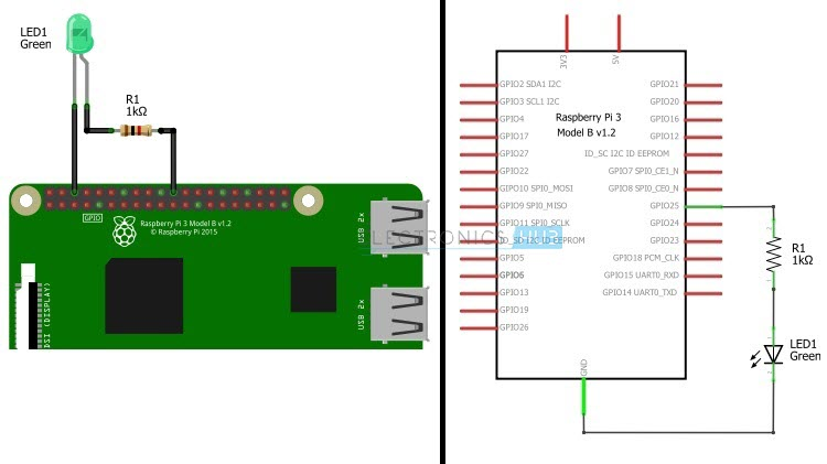 How to Blink an LED with Raspberry Pi Circuit Diagram 1