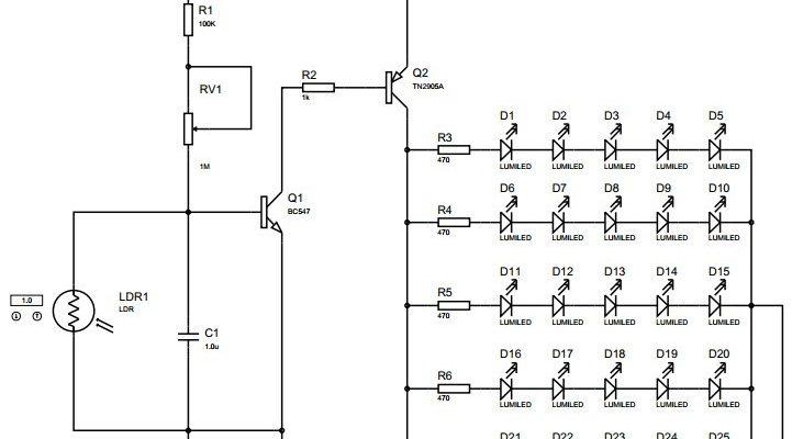 Auto Night Lamp Using LED Circuit
