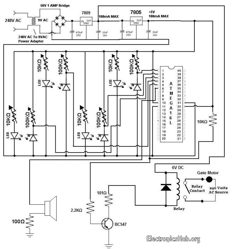 Automatic Railway Gate Controller Schematic diagram