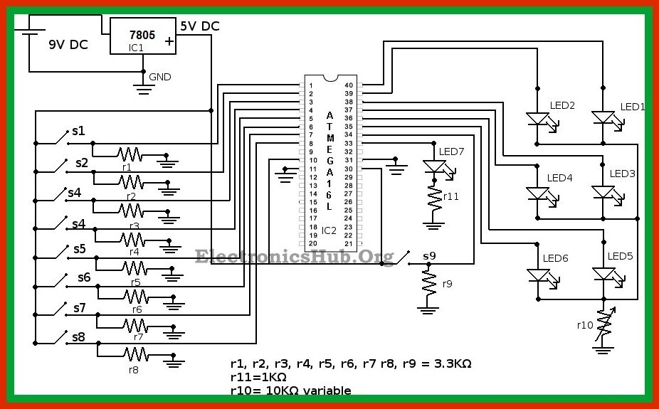 Circuit Diagram of Boolean Algebra Calculator