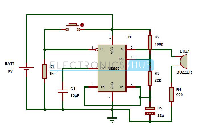 panic alarm circuit diagram working and applications rh electronicshub org