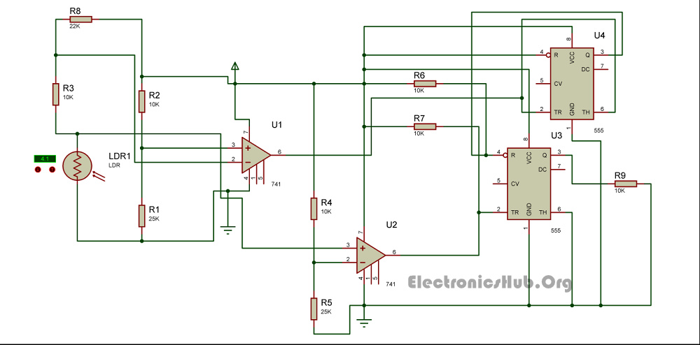 Circuit Diagram of Unambiguous Night Lamp Switcher