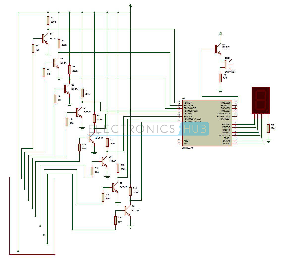water level indicator project circuit working using avr rh electronicshub org circuit diagram of water level indicator with seven segment display simple water level indicator alarm circuit diagram