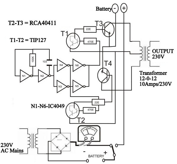 circuit diagram of solar inverter for home how solar inverter works rh electronicshub org