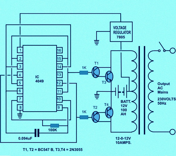 Circuit diagram of solar inverter for home how solar inverter works simple inverter circuit cheapraybanclubmaster Gallery