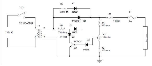 Diagrama de circuito del cargador de batería con S CR