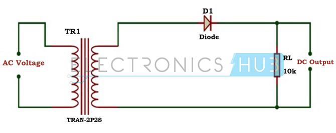 Diagrama del circuito del transformador de media onda