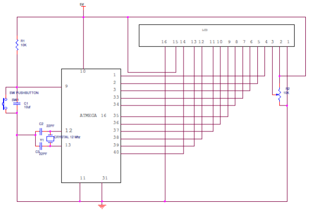 Interfacing 16X2 LCD to AVR Microcontroller Circuit Diagram