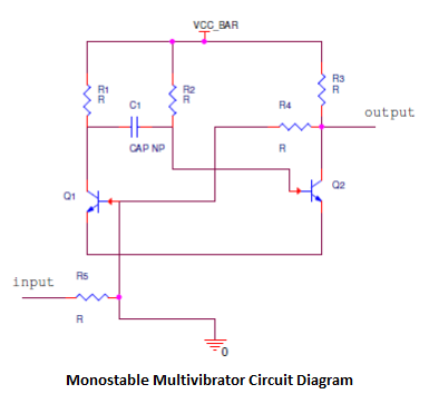 Monostable Multivibrator Circuit Operation on timer schematic diagram