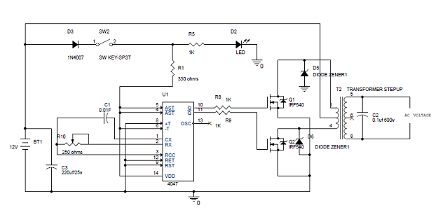 simple 100w inverter circuit diagram and its working rh electronicshub org simple inverter circuit diagram 1000w simple dc to ac inverter circuit diagram