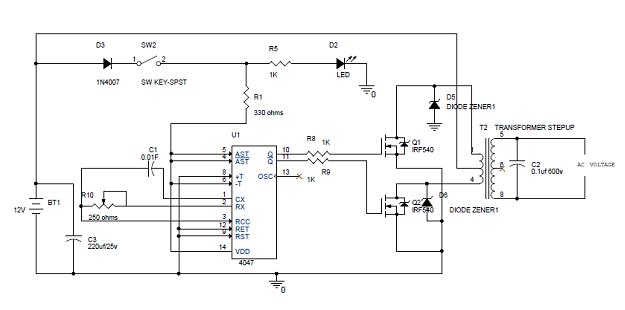 Diagrama simple del circuito inversor de 100W
