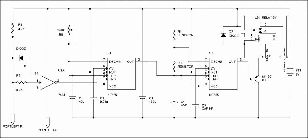 Diagrama de circuito del sistema de planta de riego electrónico