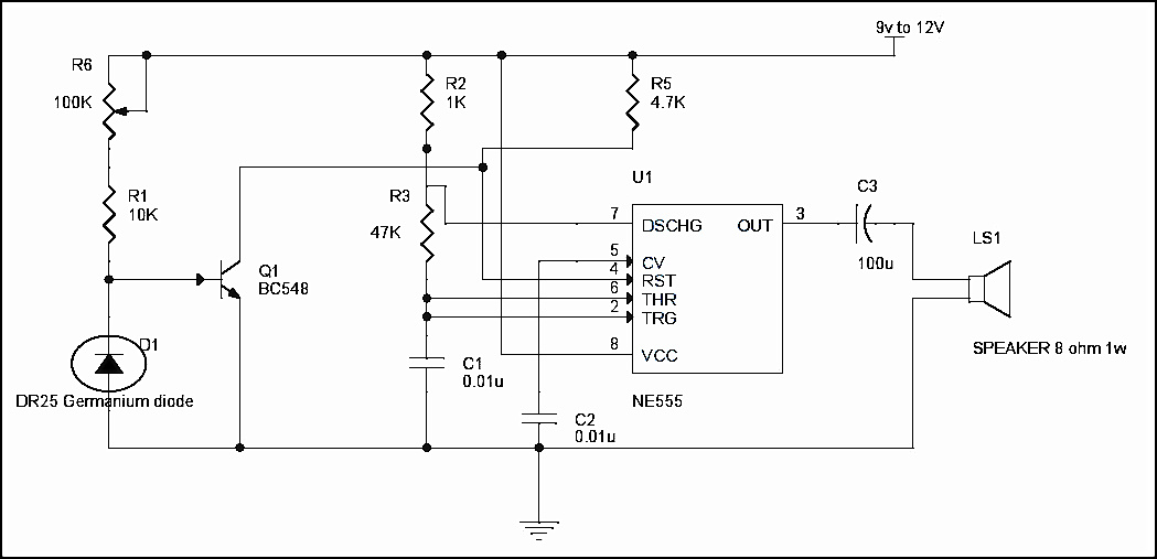Fire Alarm Circuit Using Germanium Diode simple fire alarm circuit using thermistor, germanium diode and lm341 fire alarm circuit diagram at mifinder.co