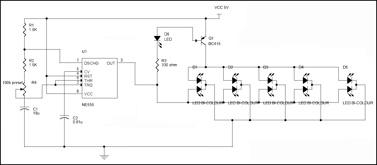 Led Blinking Circuits Bi Color Dancing Lights Flasher Circuit Diagram Of The Project Is Shown Below