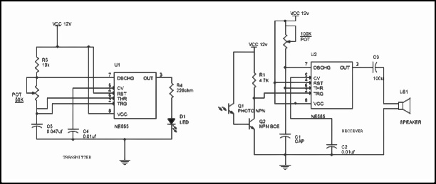 motion detector circuit using ir sensor  555 working with