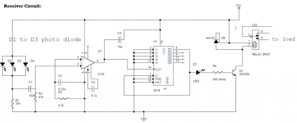 infrared control remote switch - Receiver Circuit