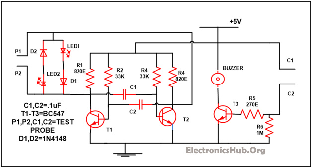 Continuity Tester Circuit Diagram continuity tester with melody invisible broken wire detector block diagram of invisible broken wire detector at bayanpartner.co