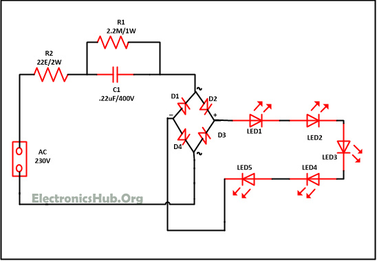 mains operated led light circuit working and advantages rh electronicshub org flickering led circuit diagram circuit diagram of led bulb