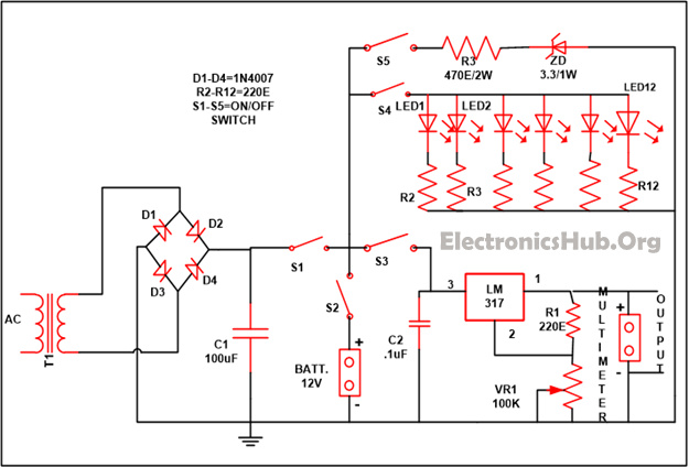 Wiring Diagram For Emergency Lights from www.electronicshub.org