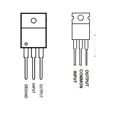 Negative and positive voltage regulator pin configuration