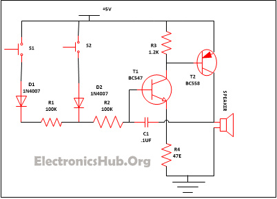 simple security alarm circuit working and applications rh electronicshub org security system circuit diagram intruder alarm system circuit diagram