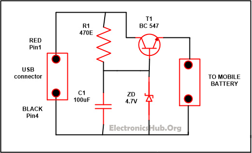 Diagrama del circuito del cargador USB USB